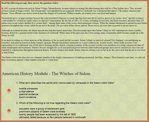 American History Interactive Module - The Witches of Salem