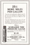 A. Schrader's Son, Inc., Brooklyn, N.Y., Chicago, Toronto, London.  25% more miles per gallon.  Tires that are insufficiently inflated need 25 per cent more gasoline to pull them along the road than tires that are inflated to the right pressure.  They also deteriorate 25 per cent to 75 per cent faster--it depends on the degree of underinflation--than tires that are kept inflated to the adequate and requisite pressure.  With a Schrader Tire Pressure Gauge you can keep your tires inflated to the right pressure.  $1.25 at all dealers everywhere.