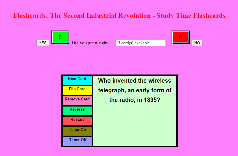 Second Industrial Revolution - Study Time Flashcards - Quiz yourself online for free with these interactive flashcards.