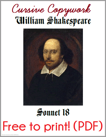 Shakespeare's 18th Sonnet Copywork Workbook - Free to print (PDF file). Practice your cursive handwriting!