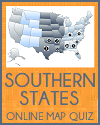 Southern States In Other Words Map and Spelling Quiz