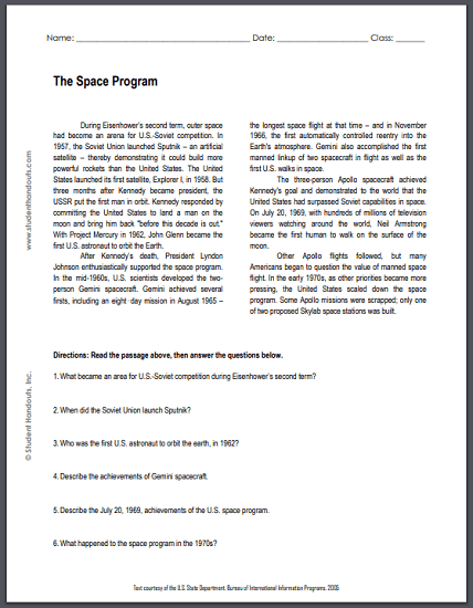 The Space Program - Free printable reading with questions for high school United States History students.