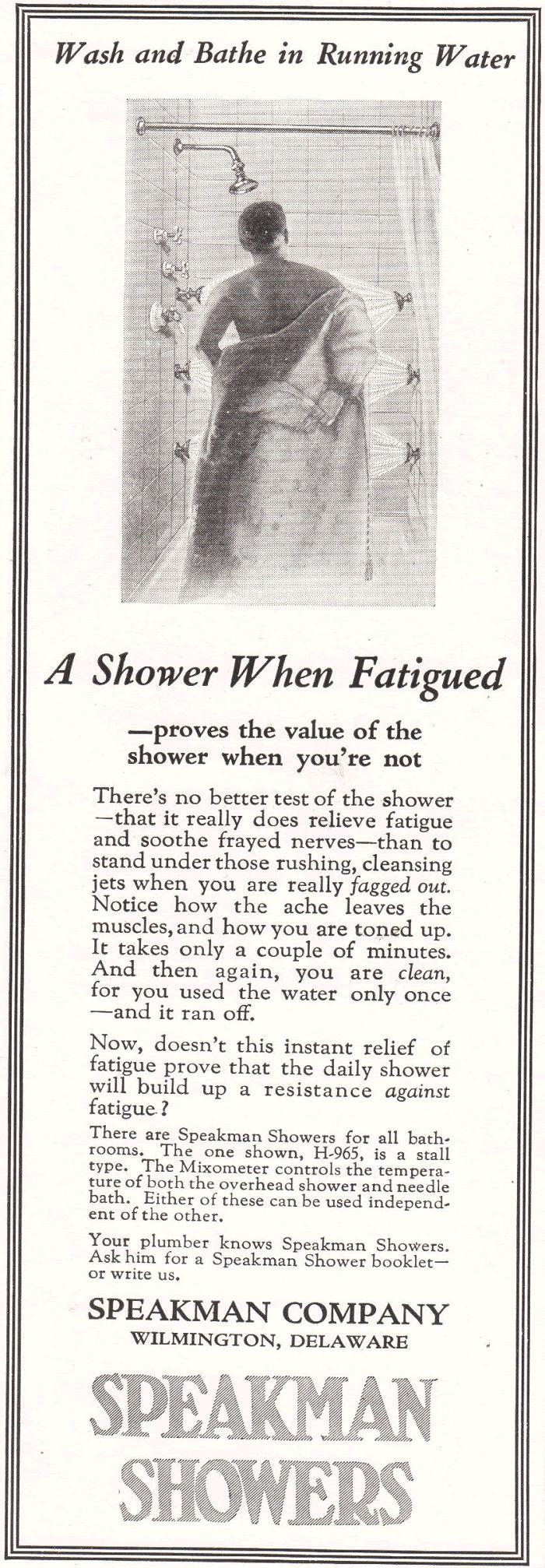 Speakman Showers Advertisement from 1922