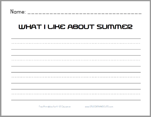 What I Like About Summer - Free Printable K-2 Writing Prompt ...
