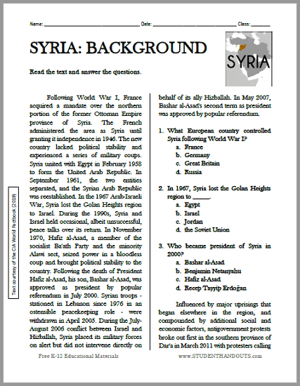 Syria's Political Turmoil: Background Reading with Questions - Free to print (PDF file).