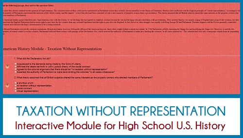 Taxation Without Representation - Interactive Module for High School United States History