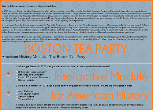 Boston Tea Party - Interactive Learning Module for United States History Classes