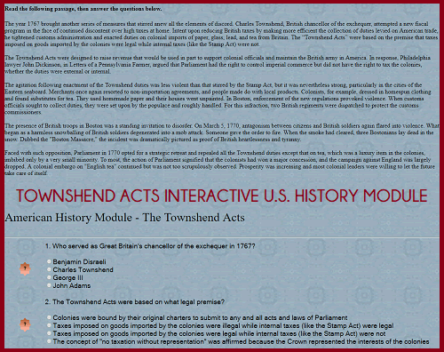 Townshend Acts Interactive Module for United States History