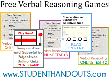 Free Verbal Reasoning Games - Quiz yourself online for free. Great college admissions test prep!