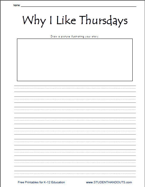 Why I Like Thursdays Free Printable Writing Prompt