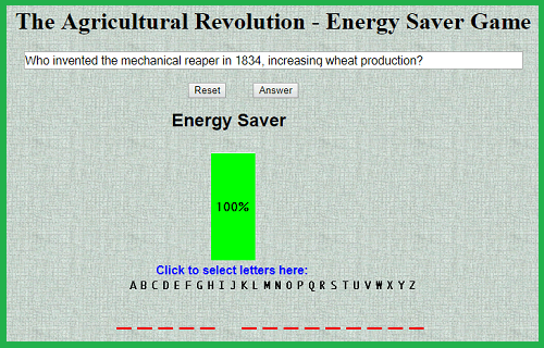 Revolution in Agriculture Energy Saver Game for World History