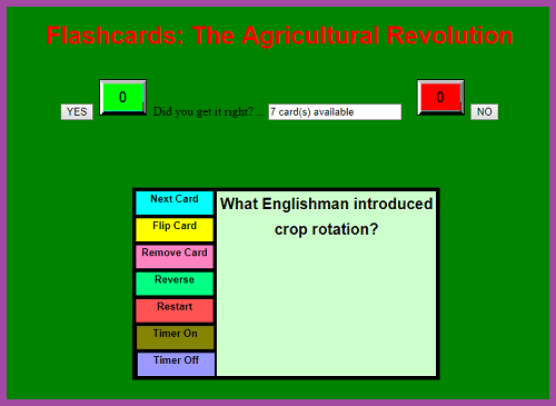 Agricultural Revolution Interactive Flashcards for Studying