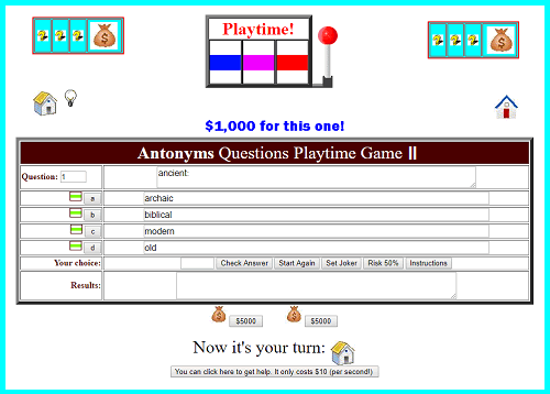 Antonyms Questions II Playtime Game