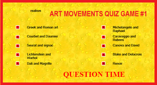 Art Movements Question Time Matching Quiz Game I
