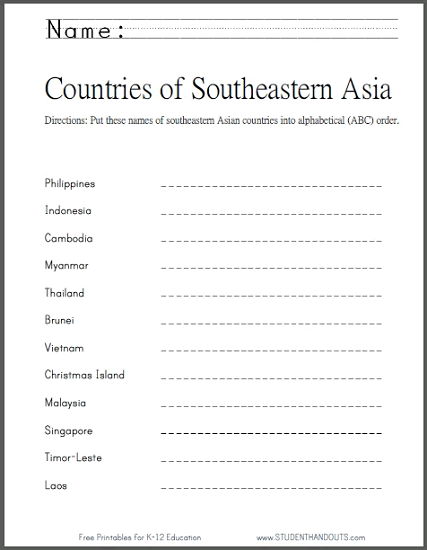 Countries of SE Asia ABC Order Worksheet - Free to print (PDF file).