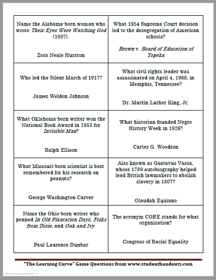 50 Black History Month Game Cards - Free to print (PDF file).