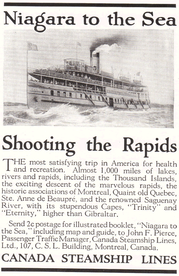 Canada Steamship Lines Antique Ad - Niagara to the Sea, Shooting the Rapids