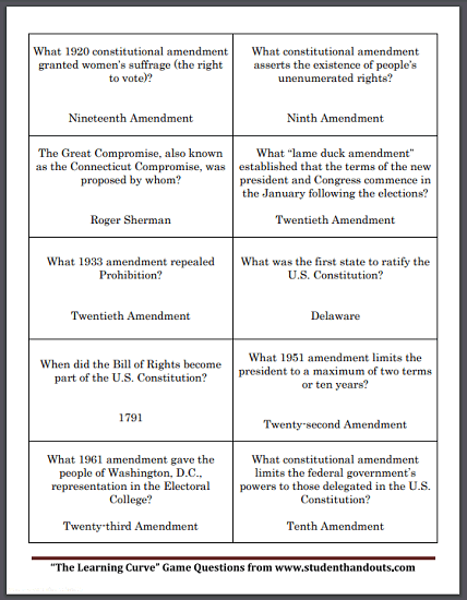 Constitution Game Question Cards - Free to print (PDF file). Five sheets for a total of fifty game cards.