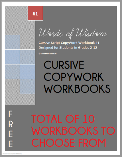 Words of Wisdom Cursive Copywork Workbooks - Ten to choose from! Free to print (PDF files).