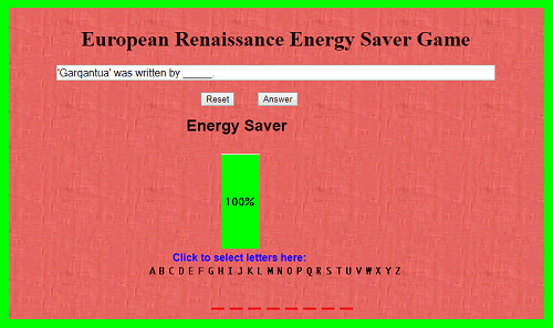 European Renaissance Energy Saver Game for High School World History