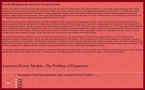 American History Interactive Module - The Problem of Expansion