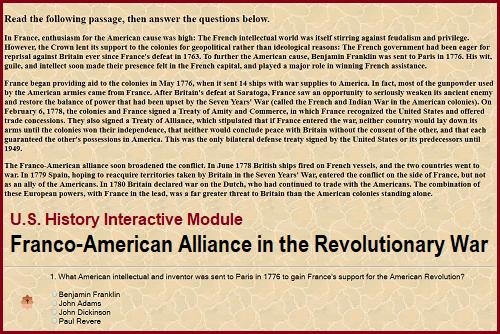 Interactive U.S. History Module on the Franco-American Alliance in the American Revolution