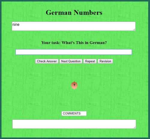 German Numbers In-other-words Quiz Game
