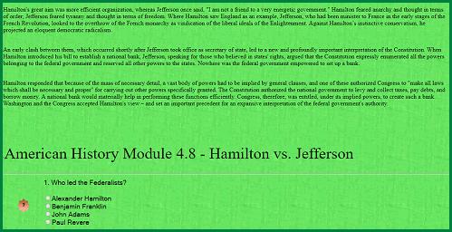 American History Interactive Module - Hamilton vs. Jefferson