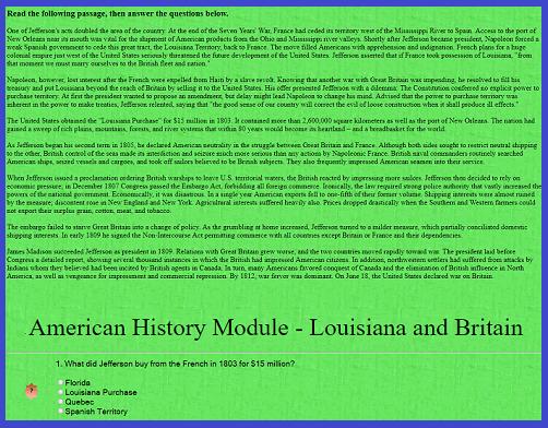 American History Interactive Module - Louisiana and Britain