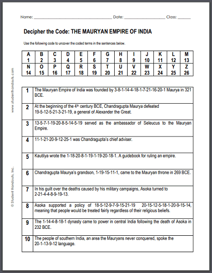 Maurya Empire of India - Free printable decipher-the-code puzzle worksheet for high school World History students.