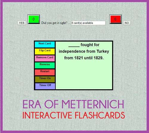 Metternich Era Interactive Flashcards