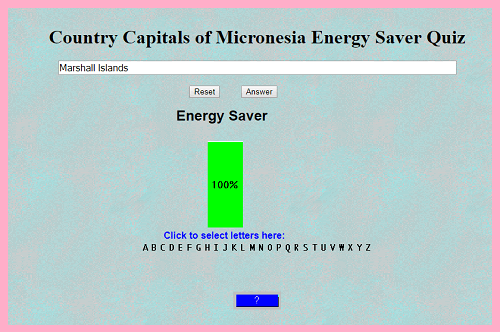 Country Capitals of Micronesia Energy Saver Quiz Game for World Geography