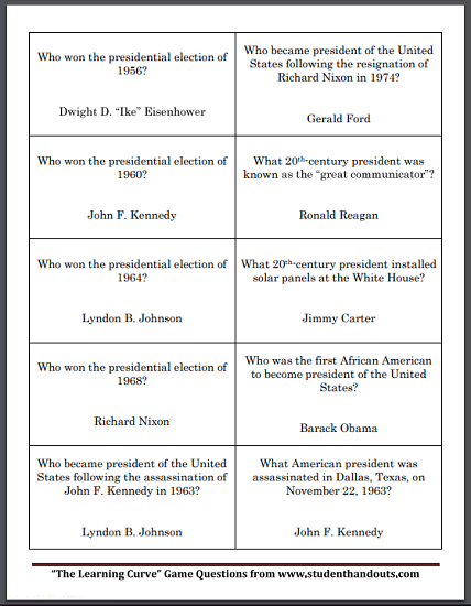 United States Presidents Game Cards - Free to print (PDF file). There are five sheets, each with ten questions, for a total of fifty questions.