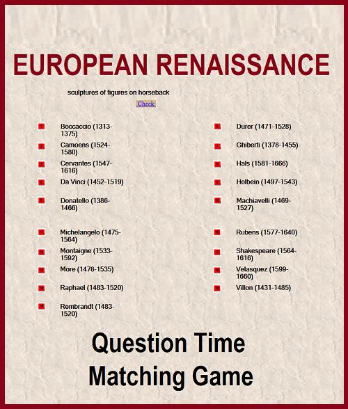 European Renaissance Question Time Matching Game