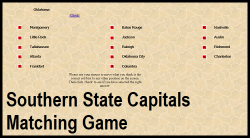 Southern State Capitals Interactive Question Time Matching Game