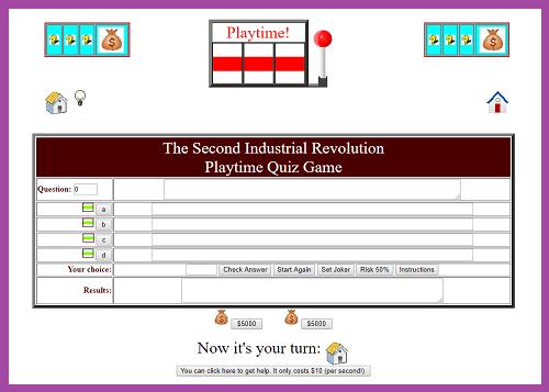 Second Industrial Revolution Playtime Quiz Game