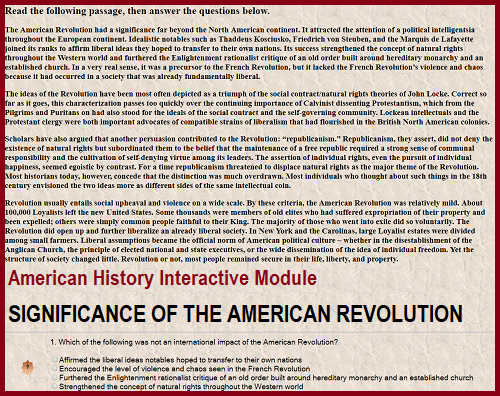 American History Interactive Module - Significance of the American Revolution