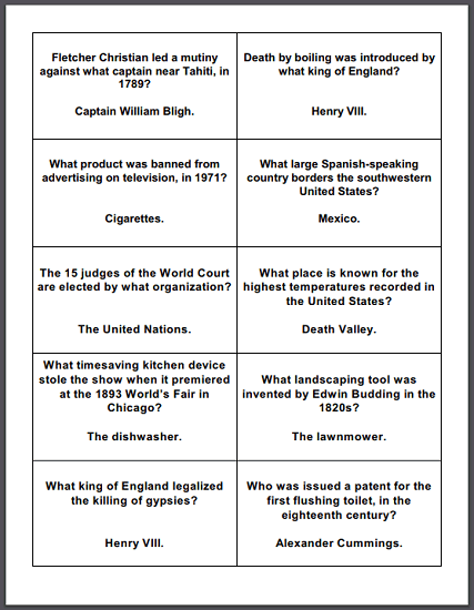 General Trivia Game Question Cards - Fifty questions total. Free to print (PDF files).