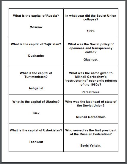 Soviet Union Board Game Cards - Free to print (PDF files).