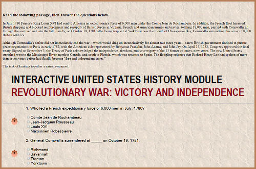 Interactive Module for U.S. History - Victory and Independence in the Revolutionary War
