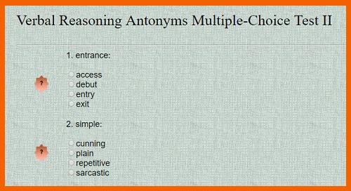 Verbal Reasoning Antonyms Multiple-Choice Test II