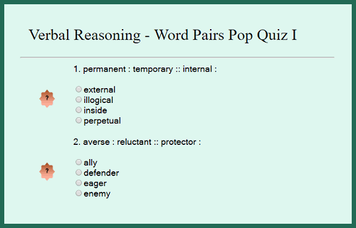 Verbal Reasoning - Word Pairs Interactive Pop Quiz I