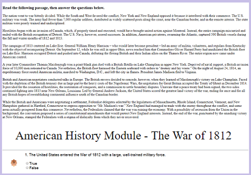 War of 1812 Interactive Module for High School United States History