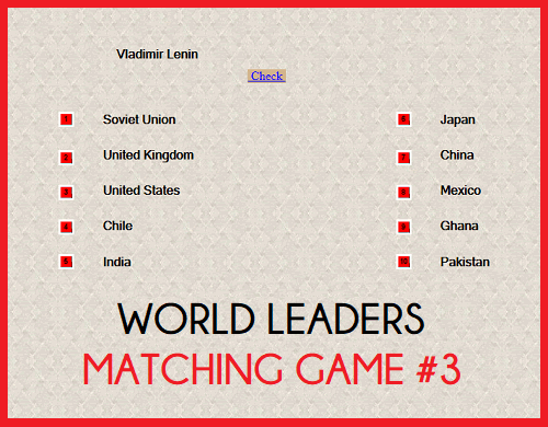 World Leaders Question Time Matching Game III