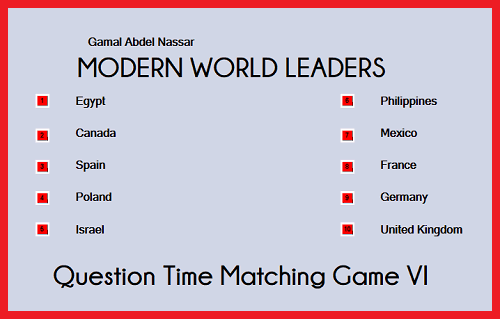 QUESTION TIME: World Leaders Matching Game VI
