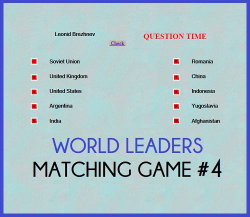 World Leaders Question Time Matching Game IV