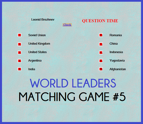 World Leaders Question Time Matching Game V