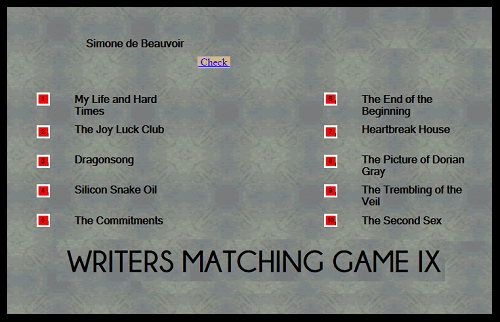 Writers and Their Works Matching Game IX