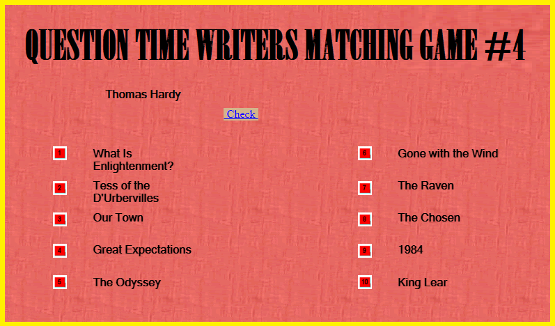 Question Time Writers Matching Game IV