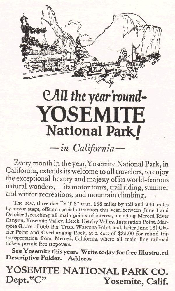 Yosemite National Park Vintage Ad